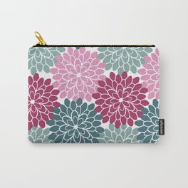 Petals in Rose, Maroon and Light and Dark Cyan Carry-All Pouch