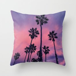 Palm trees and Sunset Throw Pillow