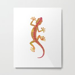 red and yellow autumn leaf gecko silhouette Metal Print