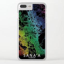 Sana'a, Yemen, City, Map, Rainbow, Map, Art, Print Clear iPhone Case