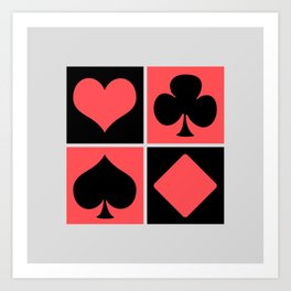 Cards series - Black and red Art Print