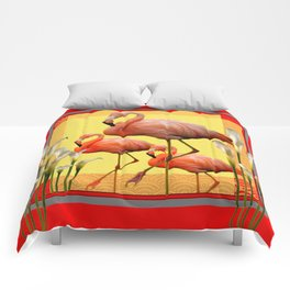 SURREAL FLAMINGOS CALLA LILIES RED ART Comforters