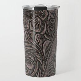 Distressed Smoky Tooled Leather Travel Mug