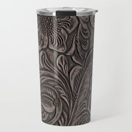 Distressed Smoky Tooled Leather Travel Mug