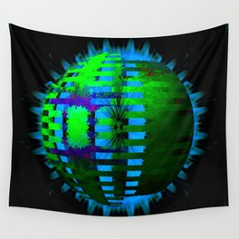 Green Layered Star in Aqua Flames Wall Tapestry