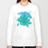 water colour Long Sleeve T-shirts featuring Water Colour Leaf by sstonnedd