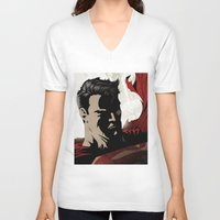 man of steel V-neck T-shirts featuring MAN OF STEEL by Taylor Callery Illustration