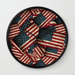 Patriotic Grunge Style American Flag Wall Clock