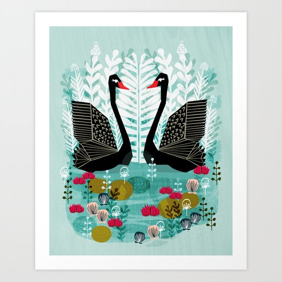 Swans by Andrea Lauren Art Print