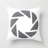 aperture Throw Pillows featuring Camera Aperture by JessicaShoots