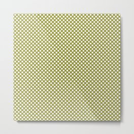 Golden Lime and White Polka Dots Metal Print