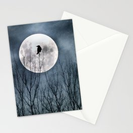 Night Raven Lit By The Full Moon Stationery Cards