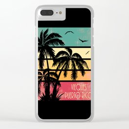 Vieques Puerto Rico Vintage Summer Clear iPhone Case