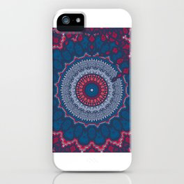 Ethnic Neck Gaiter Navy Blue and Red Boho Neck Gator iPhone Case