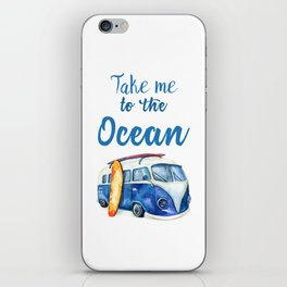 Take me to the Ocean // Summer quote with van and surfboard iPhone Skin