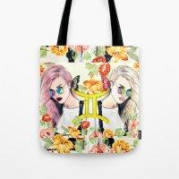 gemini Tote Bags featuring Gemini by Sara Eshak