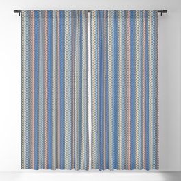 Modern Geometric Cable Knit Sweater Pattern in Soothing Classic Blues Muted Orange Desert Colors  Blackout Curtain