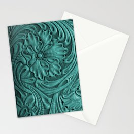 Teal Flower Tooled Leather Stationery Cards