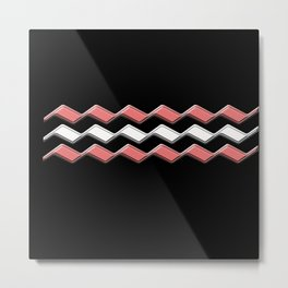 Rectilinear wave ....pink, white Metal Print