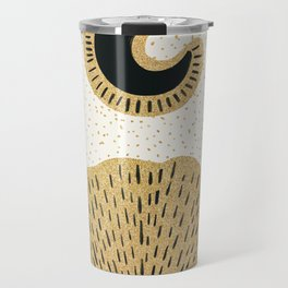Sun and Moon Relationship // Cosmic Rays of Black with Gold Speckle Stars Cool Minimal Digital Drawn Travel Mug