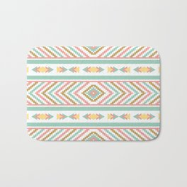 Abstract Tribal Native Geometric Pattern - Bohemian Festival Colorful Bath Mat