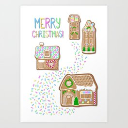 Merry Christmas Poster with Gingerbread Houses Art Print