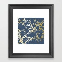 Kintsugi Ceramic Gold on Indigo Blue Framed Art Print