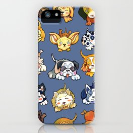 Kawaii Cute Dogs on Blue by dotsofpaint iPhone Case