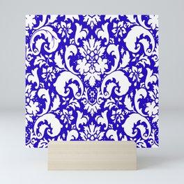 Paisley Damask Blue and White Mini Art Print