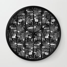 Black and White Linear Ethnic Print Pattern Wall Clock