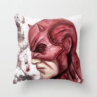 daredevil Throw Pillows featuring Daredevil by rchaem