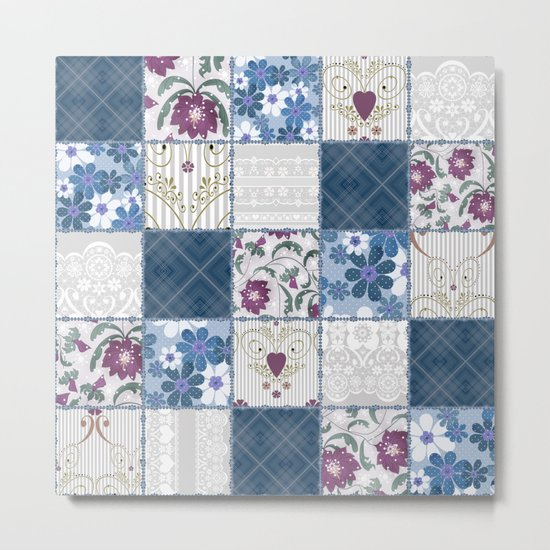 Patchwork  floral lace pattern background Metal Print