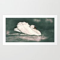 black swan Art Prints featuring Swan by Linsey Williams Wall Art, Clothing, And