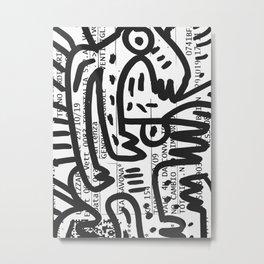 Italian Train Ticket Street Art Graffiti Black and White Metal Print