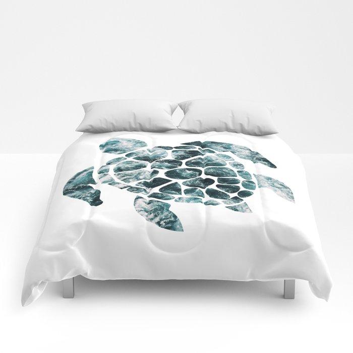 Sea Turtle - Turquoise Ocean Waves Comforters