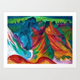 Swiss Alps Mount Weissfluh above Davos landscape painting by Ernst Ludwig Kirchner Art Print