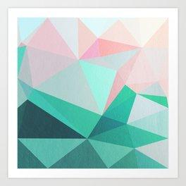 Geometric Landscape - Pink and Green Art Print