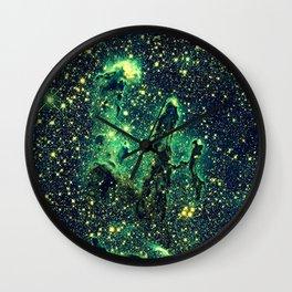 Galaxy NEBULa  : Pillars of Creation Green Wall Clock