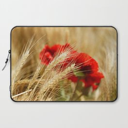 Field of golden wheat with red poppy flowers Laptop Sleeve