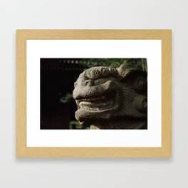 Lion Trapped in Concrete Framed Art Print