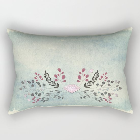 Diamond and flowers - Floral Flowers watercolor illustration Rectangular Pillow