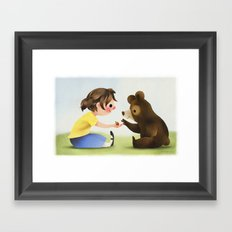 Girl And Bear Sharing Berries Framed Art Print