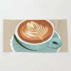 Coffee with Latte Art Polygon Art Beach Towel
