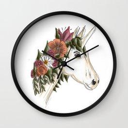 Floral Unicorn Wall Clock