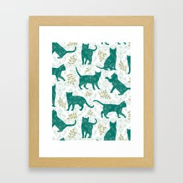Damask Green Cats Framed Art Print