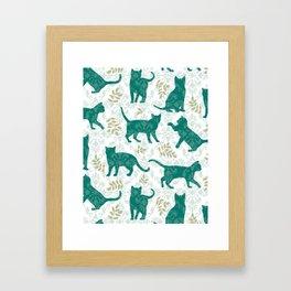 Damask Green Cats Framed Art Print