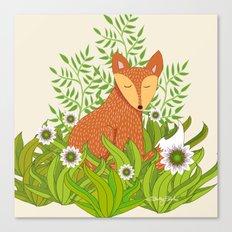 Fox in the Daisies Canvas Print