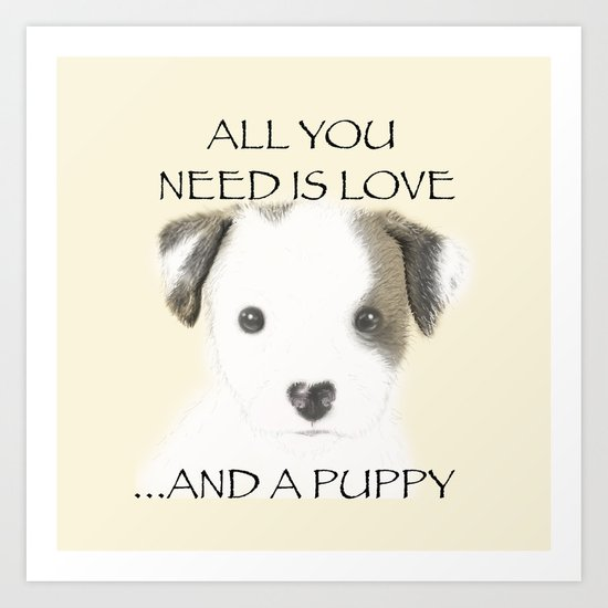 Love and a puppy Art Print