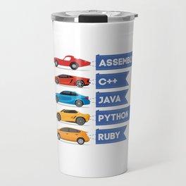 C++ Java Python Ruby Language Car Comparison Travel Mug