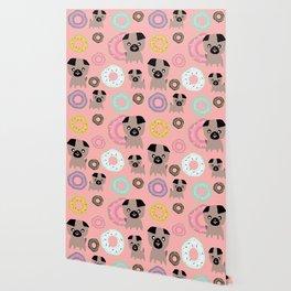 Pug and donuts pink Wallpaper